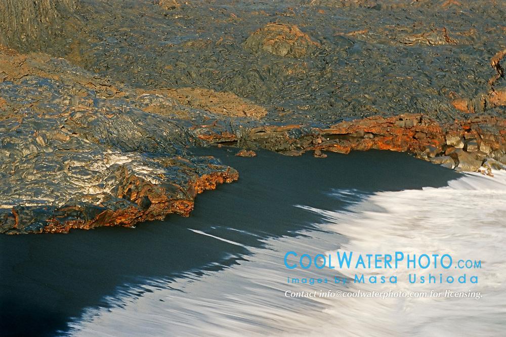 Newly formed black sand beach, Hawaii, USA Volcanoes National Park, Kilauea, Big Island, Hawaii, USA