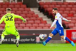 Adam Armstrong of Blackburn Rovers tries to beat Josef Bursik of Stoke City - Mandatory by-line: Nick Browning/JMP - 19/12/2020 - FOOTBALL - Bet365 Stadium - Stoke-on-Trent, England - Stoke City v Blackburn Rovers - Sky Bet Championship