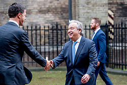 """Dutch Prime Minister Mark Rutte receives United Nations Secretary-General Antonio Guterres in The Hague, the Netherlands, on December 21, 2017. In presence of among others United Nations Secretary-General Antonio Guterres and Dutch King Willem-Alexander, the International Criminal Tribunal for the Former Yugoslavia (ICTY) closed its doors after 24 years with a closing ceremony in the """"Ridderzaal"""", or Hall of Knights, in The Hague on Thursday. Photo by Robin Utrecht/ABACAPRESS.COM"""