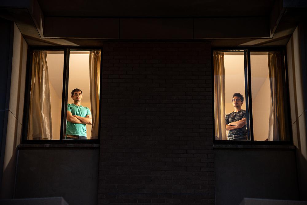 Deivanayagan Varadhan,23, (left) and Harshvardhan Verma,22, at their residence experiencing self isolation due to Covid-19 in Washington, D.C. Photo taken by Venkat Sai Akash Pamarthy on 04/12/2020.