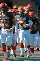 KELOWNA, BC - OCTOBER 6: The Okanagan Sun run onto the field against the VI Raiders for the final BCFC regular season game at the Apple Bowl on October 6, 2019 in Kelowna, Canada. (Photo by Marissa Baecker/Shoot the Breeze)