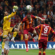 Galatasaray's Burak Yilmaz (C) during their Turkish Super League soccer match Galatasaray between TorkuKonyaspor at the AliSamiYen Spor Kompleksi TT Arena at Seyrantepe in Istanbul Turkey on Friday, 08 May 2015. Photo by Kurtulus YILMAZ/TURKPIX