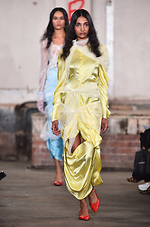 Models wear designes by Yuhan Wang during the Fashion East Spring/Summer 2019 London Fashion Week show in Covent Garden, London. Picture date: Sunday September 16th, 2018. Photo credit should read: Matt Crossick/ EMPICS Entertainment.