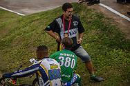 #599 (DOS REIS Rogerio) BRA and #380 (EZEQUIEL DE SOUZA FILHO Anderson) BRA with their coach at the 2016 UCI BMX Supercross World Cup in Santiago del Estero, Argentina