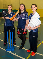 Pictured: Abbi Aitken (Montrose and Scotland), Aileen Campbell and Oli Rae (Edinburgh and Scotland)<br /> Aileen Campbell MSP (Minister for Public Health and Sport) joined Abbi Aitken (Scotland captain) Steve Knox (Scotland women's coach), Nicola Wilson (CS women's participation manager) and Oli Rae (opener for Edinburgh and Scotland) today at Edinburgh' Fettes College to promote women's cricket ahead of the national team's trip to Sri Lanka for the ICC Women's World Cup Qualifier (in Sri Lanka) on 29 January. <br /> Ger Harley | EEm 24 January 2017