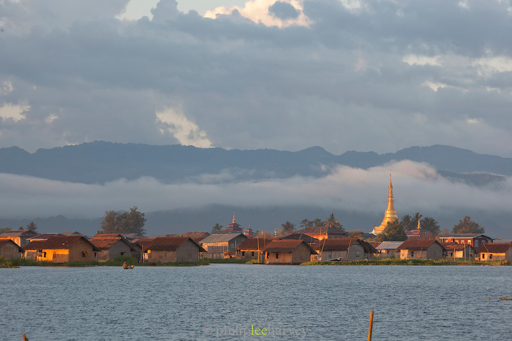 Alo Daw Pauck pagoda in Pauck Paw village, built in the middle of Inle Lake, Shan state, Myanmar