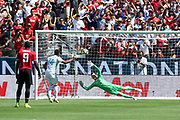 Real Madrid Midfielder Casemiro shoots and scores from the penalty spot past Manchester United Goalkeeper David De Gea during the AON Tour 2017 match between Real Madrid and Manchester United at the Levi's Stadium, Santa Clara, USA on 23 July 2017.