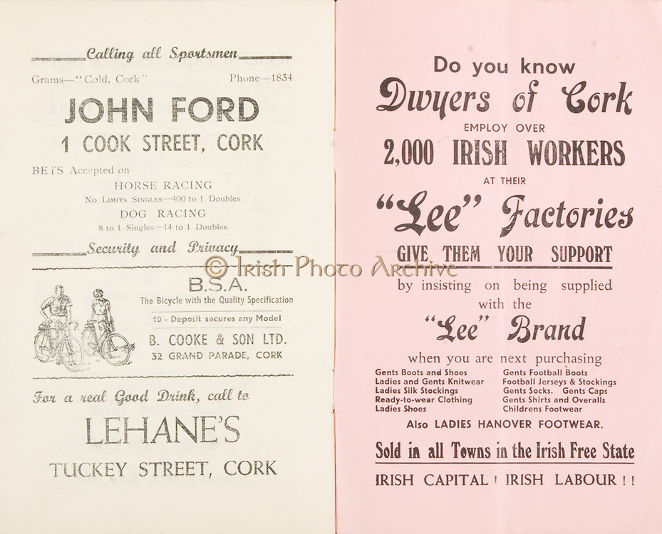 """Munster Minor and Senior Hurling Championship Final,.25.07.1937, 07.25.1937, 25th July 1937,.25071937MSMHCF,..John Ford 1 Cool Street Cork, bets accepted on Horse Racing, Dog Racing,..Lehane's Tuckey Street Cork,..Dwyers of Cork, """"Lee Factories"""",""""Sold in all towns in the Irish Free State. IRISH CAPITAL, IRISH LABOUR"""""""