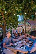 Al fresco dining at Al Gusto at La Bastide Rose in Le Thor, Provence, France.