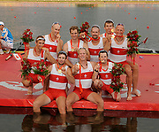Shunyi, CHINA. GBR M8+,  Men's eights final, Gold medalist CAN M8+(b), LIGHT Kevin, RUTLEDGE Ben, BYRNES Andrew, WETZEL Jake<br /> HOWARD Malcolm, SEITERLE Dominic, KREEK Adam, HAMILTON Kyle and cox, PRICE Brian, awards dock. at the 2008 Olympic Regatta, Shunyi Rowing Course.  17/08/2008 [Mandatory Credit: Peter SPURRIER, Intersport Images