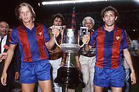 Fotball<br /> Barcelona Historie<br /> Foto: imago/Digitalsport<br /> NORWAY ONLY<br /> <br /> 04.06.1983  <br /> Bernd Schuster (li.) und Enrique Quini Castro (beide Barca) präsentieren die Copa del Rey