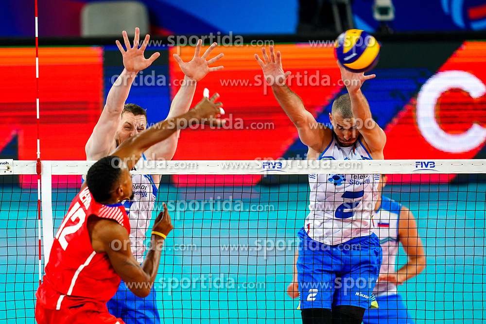 Jesus Herrera Jaime of Cuba vs Toncek Stern of Slovenia and Alen Pajenk of Slovenia during volleyball match between Cuba and Slovenia in Final of FIVB Volleyball Challenger Cup Men, on July 7, 2019 in Arena Stozice, Ljubljana, Slovenia. Photo by Matic Klansek Velej / Sportida