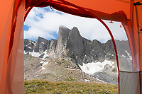 View of Pronghorn Peak from inside of tent at backcountry camp. Bridger Wilderness. Wind River Range, Wyoming