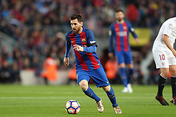 April 5, 2017 - Barcelona, Spain - LIONEL MESSI of FC Barcelona during the Spanish championship Liga football match between FC Barcelona and Sevilla FC on April 5, 2017 at Camp Nou stadium in Barcelona, Spain. (Credit Image: © Manuel Blondeau via ZUMA Wire)