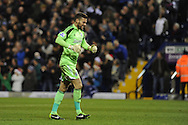 West Brom goalkeeper Ben Foster celebrates after his teammate Matej Vydra scores his sides goal to equalise 1-1.Barclays Premier league, West Bromwich Albion v Hull city at the Hawthorns in West Bromwich, England on Saturday 21st Dec 2013. pic by Andrew Orchard, Andrew Orchard sports photography.