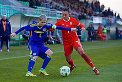 ZENICA, BOSNIA AND HERZEGOVINA - Tuesday, November 28, 2017: Bosnia and Herzegovina's captain Amira Spahić and Wales' Natasha Harding during the FIFA Women's World Cup 2019 Qualifying Round Group 1 match between Bosnia and Herzegovina and Wales at the FF BH Football Training Centre. (Pic by David Rawcliffe/Propaganda)