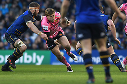 December 16, 2017 - Dublin, Ireland - Lachlan Turner of Exeter challenged by Leinster's Sean O'Brien during Leinster vs Exeter Chiefs - the  European Rugby Champions Cup rugby match at Aviva Stadium...On Saturday, 16 December 2017, in Dublin, Ireland. (Credit Image: © Artur Widak/NurPhoto via ZUMA Press)