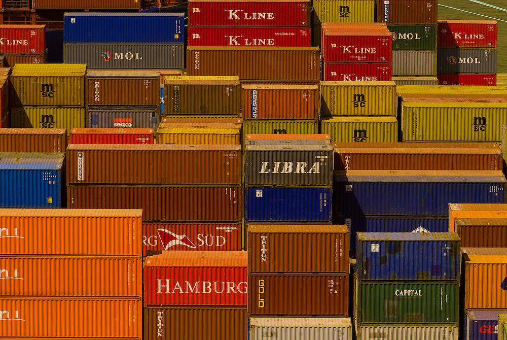 Shipping containers in the port of Valparaiso, Chile