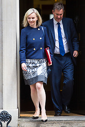 London, July 4th 2017. Chief Secretary to the Treasury Liz Truss and Secretary of State for Work and Pensions David Gauke leave the weekly cabinet meeting at 10 Downing Street in London.
