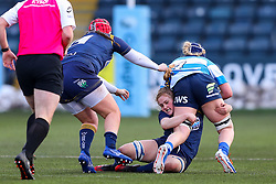 Charlotte Wright Haley, on debut for Worcester Warriors Women,  tackles Jess Wiesheu of DMP Durham Sharks - Mandatory by-line: Nick Browning/JMP - 09/01/2021 - RUGBY - Sixways Stadium - Worcester, England - Worcester Warriors Women v DMP Durham Sharks - Allianz Premier 15s