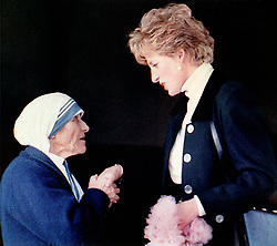 Diana, Princess of Wales meeting Mother Teresa during a visit to a convent in Rome.