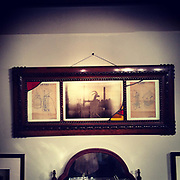 """""""Modern Industry"""" Museum installation detail.<br /> <br /> Vintage wood frame containing one archival pigment print shot by the """"Modern Industry"""" camera, and two original blue prints of my grandfathers invention of the """"Gas Turbine Engine"""" from the 1930's."""