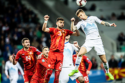 Egzon Bejtulai of Macedonia vs Luka Zahović of Slovenia during football match between National teams of Slovenia and North Macedonia in Group G of UEFA Euro 2020 qualifications, on March 24, 2019 in SRC Stozice, Ljubljana, Slovenia. Photo by Vid Ponikvar / Sportida