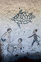 Turtle grafitti on a wall, Vamizi Island, Mozambique