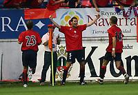 Jubel Cuellar Mitte nach 1:0 fuer Osasuna<br /> Fussball Champions League Qualifikation CA Osasuna - Hamburger SV<br /> Norway only