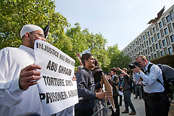 © London News Pictures. Siddhartha Dhar (2L) at a Muslims Against Crusades demonstration outside the American Embassy in Grosvenor Square on the tenth anniversary of the 9/11 attacks in London on September 11, 2011.. There has been speculation that Siddhartha Dhar is this the new 'Jihadi John', who appeared in a recent ISIS video. Photo credit: LNP