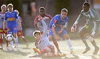Fotball<br /> 28.04.2012<br /> Adeccoligaen<br /> Strømmen v Sandefjord<br /> Foto: Morten Olsen, Digitalsport<br /> <br /> Jo Sondre Aas - Sandefjord<br /> Keeper Duwayne Kerr - Strømmen