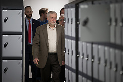 © Licensed to London News Pictures . 17/03/2016 . Salford , UK . The Labour Party leader, JEREMY CORBYN , visits Energy House at Salford University , where a unique research lab containing full-sized 19th Century terraced houses , such as those that are common in the North of England , has been built . Photo credit : Joel Goodman/LNP