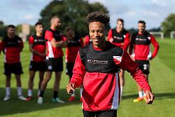 Bobby Reid looks on as Bristol City play Football Darts from Bristol Bubble Ball Ltd after training - Rogan Thomson/JMP - 30/09/2016 - FOOTBALL - Failand Training Ground - Bristol, England.