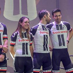 04-01-2018: Wielrennen: Presentatie Team Sunweb: Berlijn<br />Nikias Arndt, Lucinda Brand, Laurens ten Dam, Tom Dumoulin