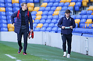 AFC Wimbledon striker Joe Pigott (39) and AFC Wimbledon midfielder Alex Woodyard (4) arriving for the game during the EFL Sky Bet League 1 match between AFC Wimbledon and Lincoln City at Plough Lane, London, United Kingdom on 2 January 2021.