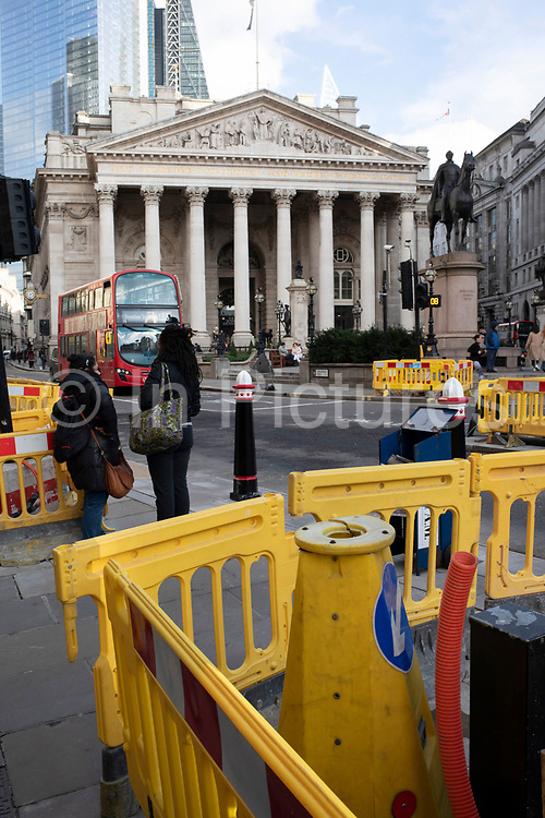 Road and pavement improvements at Bank in the City of London looking towards the Royal Exchange on 28th January 2020 in London, England, United Kingdom. The City of London is a city, county and a local government district that contains the historic centre and the primary central business district CBD of London.