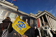 © Licensed to London News Pictures. 19/01/2012, London, UK. An official pickett outside the National Gallery. Public and Commercial Services union members strike over the National Gallery's budget reductions and a policy of not replacing gallery assistants who leave, causing some rooms to be unattended..  Photo credit : Stephen Simpson/LNP