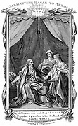 Sarah, Abraham's wife, being barren, offers Hagar her maid to her husband. Result of the union was Ishmael whose name came to mean an outcast. 'Bible' Genesis 16:3. Copperplate engraving c1804