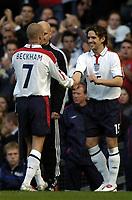 Fotball<br /> VM-kvalifisering<br /> 09.10.2004<br /> Foto: BPI/Digitalsport<br /> NORWAY ONLY<br /> <br /> England v Wales<br /> <br /> Owen Hargreaves replaces the injured David Beckham