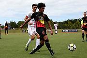 Canterbury's Aaron Spain in action. ISPS Handa Premiership, Waitakere United v Canterbury United Dragons, Trusts Stadium, Auckland, Sunday 14th January 2018. Copyright Photo: David Joseph