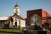 Arcelor Mittal. Omarska Mine near Prijedor.<br /> Orthodox church just outside of the Omarska Mine's gates.<br /> <br /> Matt Lutton / Boreal Collective for the Financial Times.