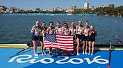 "Rio de Janeiro. BRAZIL     USA W8+. Gold Medalist Bow.  Emily REGAN, Kerry SIMMONDS, Amanda POLK,  Lauren SCHMETTERLING, Tessa GOBBO, Meghan<br /> MUSNICKI, Eleanor LOGAN,  Amanda ELMORE, and cox. Katelin SNYDER, at the, 2016 Olympic Rowing Regatta. Lagoa Stadium, Copacabana,  ""Olympic Summer Games""<br /> Rodrigo de Freitas Lagoon, Lagoa. Local Time 12:24:25  Saturday  13/08/2016<br /> [Mandatory Credit; Peter SPURRIER/Intersport Images]"