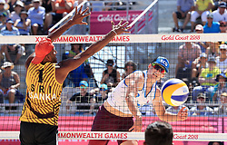 Scotland's Seain Cook (right) and Sri Lanka's Asanka Pradeep in action during the Men's Preliminary - Pool B Beach Volleyball match at Coolangatta Beachfront during day two of the 2018 Commonwealth Games in the Gold Coast, Australia.