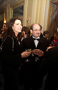 Nigella Lawson and Salman Rushdie, Bright Young Things Royal European charity premiere in Leicester Sq. and party afterwards at  Claridges, 28 September 2003. © Copyright Photograph by Dafydd Jones 66 Stockwell Park Rd. London SW9 0DA Tel 020 7733 0108 www.dafjones.com