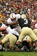 November 3, 2012:  University of Colorado Buffalos linebacker Doug Rippy (3) stops a Stanford fullback at the goal line during the NCAA Football game between the Stanford Cardinal and the University of Colorado Buffalos at Folsom Field in Boulder, CO