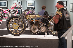 Matt Harris' custom 1929 Harley-Davidson JD Speedster in the Old Iron - Young Blood exhibition in the Motorcycles as Art gallery at the Buffalo Chip during the annual Sturgis Black Hills Motorcycle Rally. Sturgis, SD, USA. Wednesday August 9, 2017. Photography ©2017 Michael Lichter.