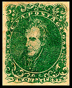 Confederate postage stamps, 2-cent Andrew Jackson stamp, 1862 green,
