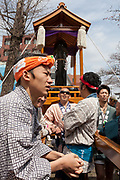 A large iron phallus on a mikoshi or portable shrine in the grounds of Kanayama Shrine at the start of the Kanamara matsuri or festival of the Steel phallus Kawasaki Daishi, Kawasaki, Kanagawa, Japan. Sunday, April 2nd 2017. The Kanamara Penis festival takes place on the first Sunday of April and celebrates the local legend of a penis eating demon who was defeated after being tricked into biting a steel phallus. The festival is popular with Japan's gay community and now uses its notoriety to raise money for HIV and AIDS charities. It is also wildly popular with foreign and Japanese.tourists.
