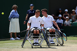 Gordon Reid (right) and Alfie Hewett in action in the Gentlemen's Wheelchair Doubles final on day twelve of the Wimbledon Championships at the All England Lawn Tennis and Croquet Club, Wimbledon. PRESS ASSOCIATION Photo. Picture date: Saturday July 14, 2018. See PA story TENNIS Wimbledon. Photo credit should read: Nigel French/PA Wire. RESTRICTIONS: Editorial use only. No commercial use without prior written consent of the AELTC. Still image use only - no moving images to emulate broadcast. No superimposing or removal of sponsor/ad logos. Call +44 (0)1158 447447 for further information.