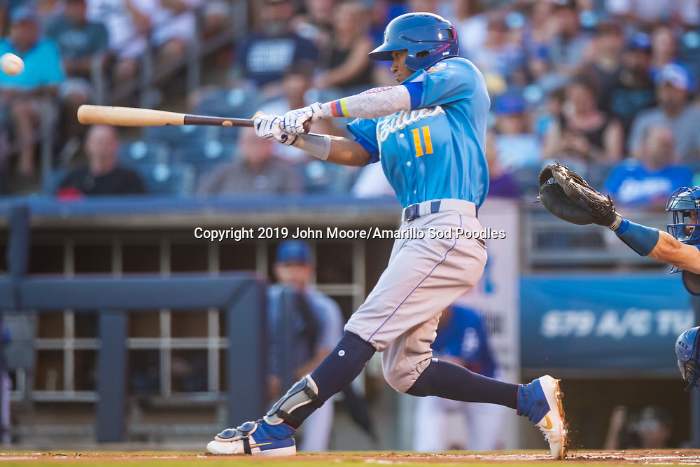 Amarillo Sod Poodles outfielder Edward Olivares (11) hits the ball against the Tulsa Drillers during the Texas League Championship on Saturday, Sept. 14, 2019, at OneOK Field in Tulsa, Oklahoma. [Photo by John Moore/Amarillo Sod Poodles]
